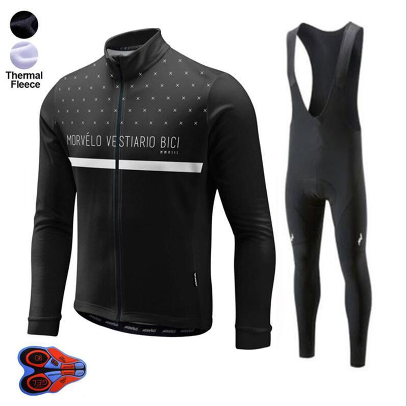 Morvelo Зимнего Термального руна задействуя Джерси 9D GEL ПОДУШКИ Брюки Ropa Ciclismo велосипед одежда Set