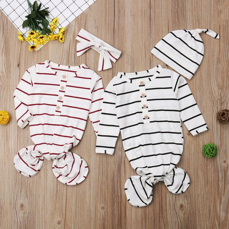 Baby Striped Sleeping Bags Long Sleeve Button Slepping Pack Infants Swaddle Headbands or Hat Set Toddler Burp Wrapped Photograph Props M2547