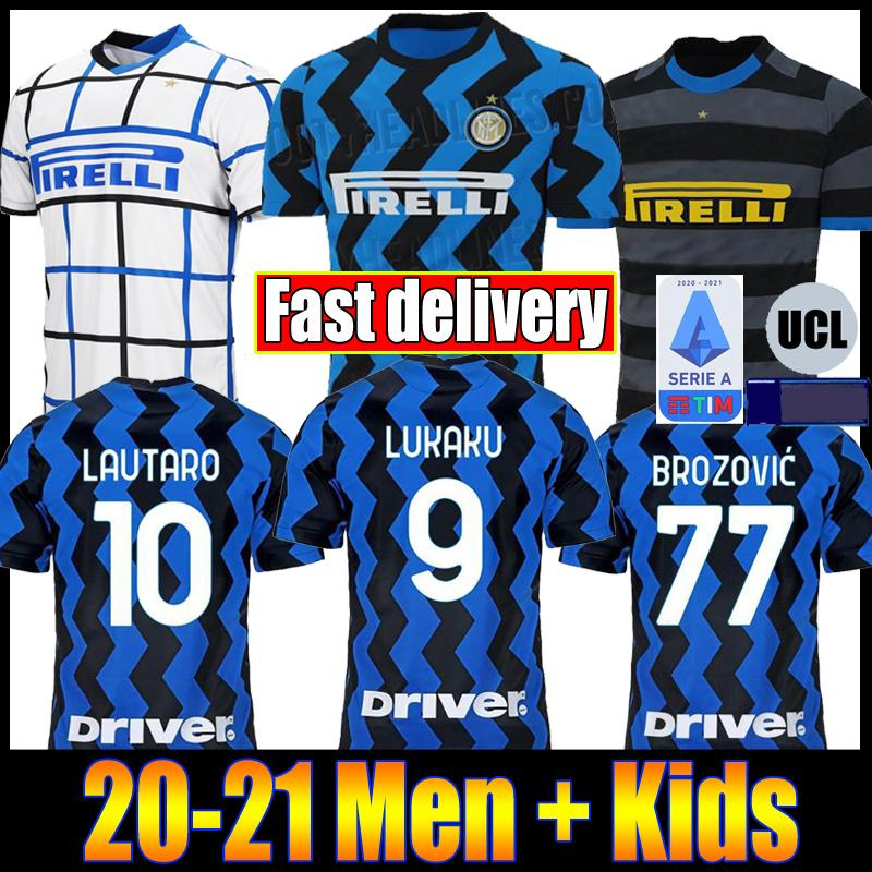 ERIKSEN LUKAKU LAUTARO SKRINIAR Inter 2020 2021 Milan soccer jersey SENSI BARELLA jersey 20 21 football top kit shirts Men Kids sets uniform