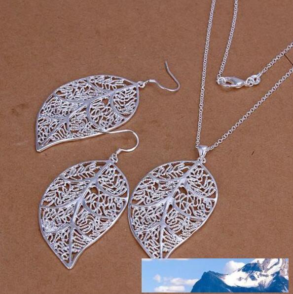 Perdere denaro Promozioni! 925 insieme dei monili d'argento, monili monili del foglio della collana hanno regolato S180