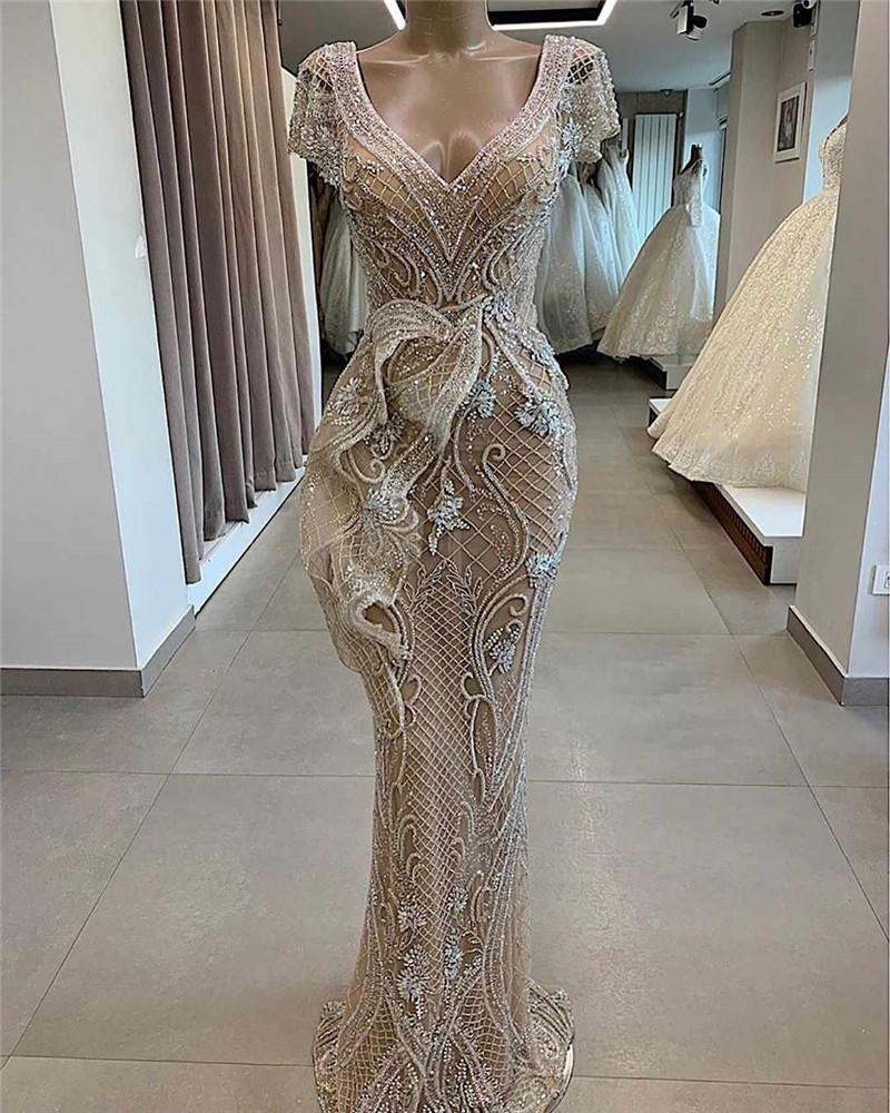 Champagne sereia Vestidos Vintage Luxo Lace Appliqued mangas curtas Prom Vestido Plus Size Árabe cristal frisado Formal vestido de festa