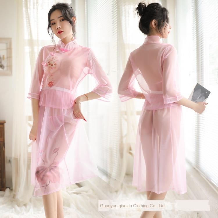 XALwz D2xad uniforme atractivo bajo estudiante malla República Popular de China traje perspectiva desgaste atractivo Qianxiu la tentación de la ropa interior pasión por las mujeres