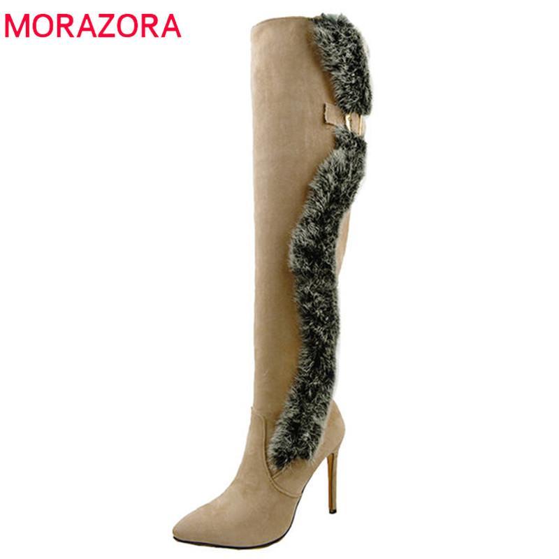 MORAZORA 2020 nuovo arrivo sopra il ginocchio stivali donna sexy in pelle gregge stivali lunghi sottili tacchi alti autunno inverno scarpe da ballo