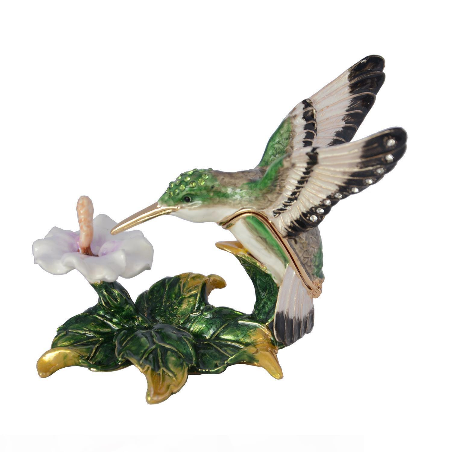 hummingbird crystal bejeweled trinket jewelry earring box vintage metal decoration gift for her pewter ornament