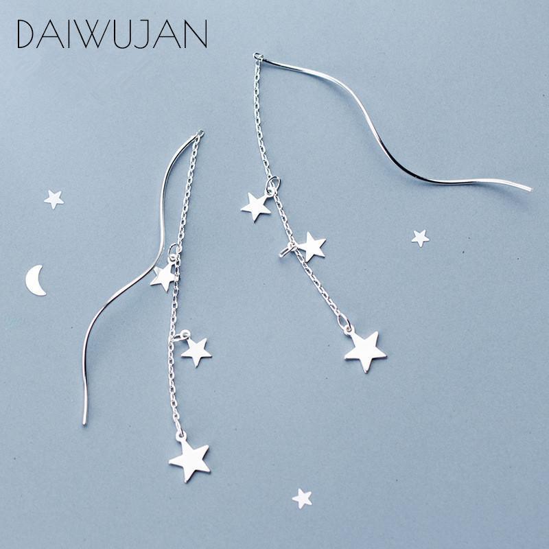 DAIWUJAN Tempérament authentique argent 925 étoiles Tassel Boucles d'oreilles Twist bâton barre boucle d'oreille pour les femmes Fine Jewelry