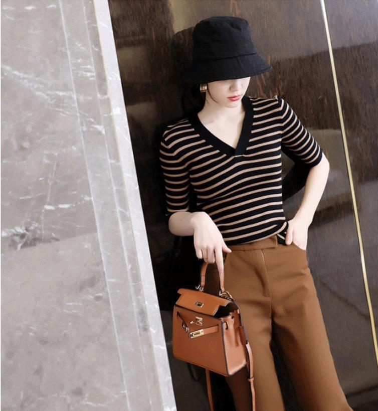 2Xioa occidentale stile art avanzata Top maglione a righe indispensabile elegante top maglione tratto sottile stretto con scollo a V