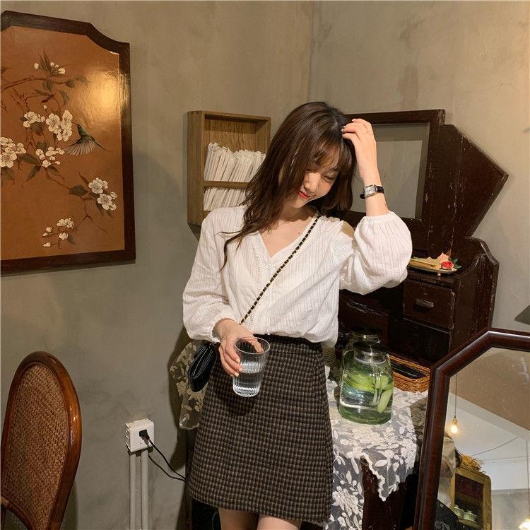 stile nlqKG coreana completa di top in pizzo estate vitalità merletto della parte superiore camicia dolce età-riduzione monopetto con scollo a V versatile camicia a maniche lunghe fo