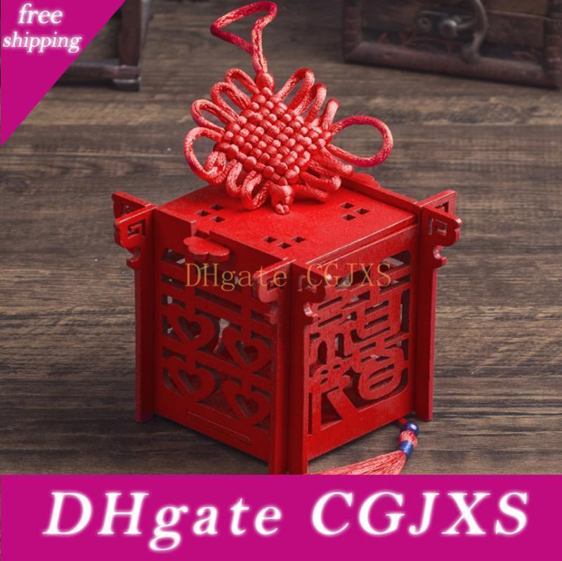 Double Happiness Candy Box Bois chinois Coffret cadeau chinois rouge sucre classique cas avec des faveurs de mariage Tassel