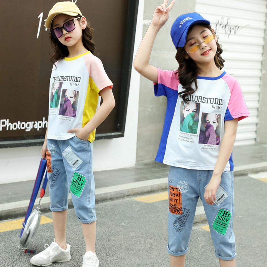 Nuovi bambini vestiti di estate dei neonati dei vestiti di stampa T-shirts + pants 2 del tempo libero adatta costume per le ragazze scherza vestiti regolati