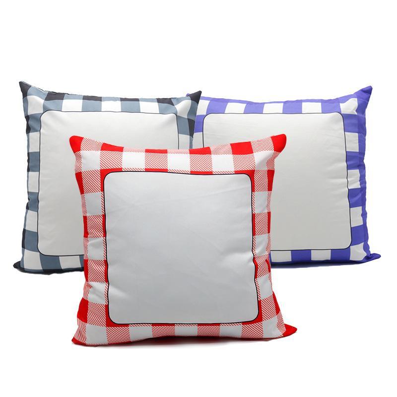 승화 그리드 베개 케이스 빈 흰색 베개 쿠션은 폴리 에스테르 열 전달 광장 벤치 소파 소파 40 * 40cm를위한 베개를 던져 커버