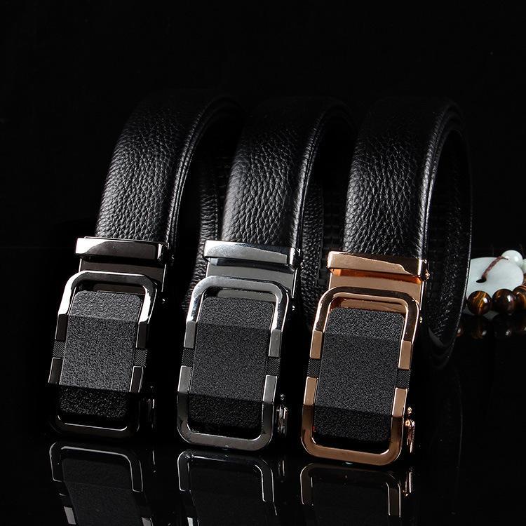 Nuevo con hebilla automática, Cinturón de moda versátil primera capa de piel, joven y de mediana edad que los hombres de la correa de pantalones
