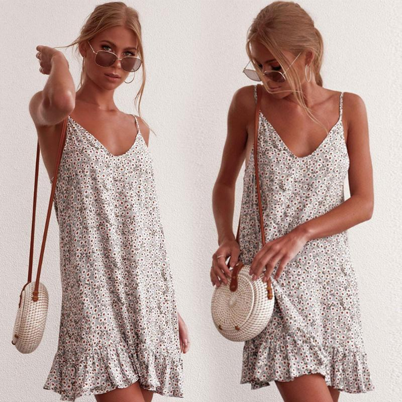 Férias de verão casual profundo pescoço flor floral estilingue estilo sling mulheres vestido leve viagem sexy shopping sem mangas diariamente