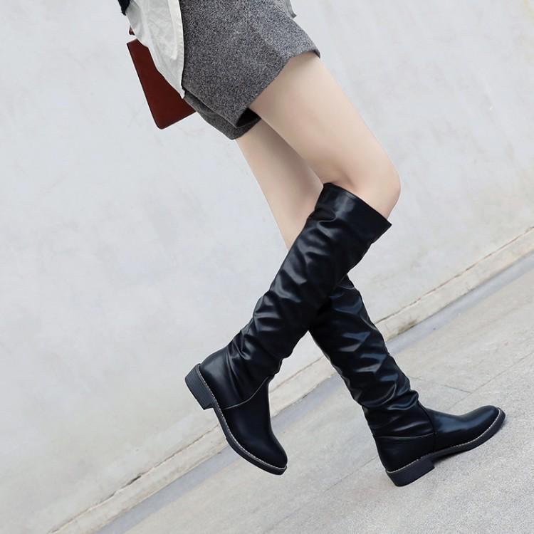 Plus Size 9 10 11 12 Stiefel Frauen Frau Winterstiefel Frauen Schuhe Botas gefaltetes Leder mit geraden Lauf