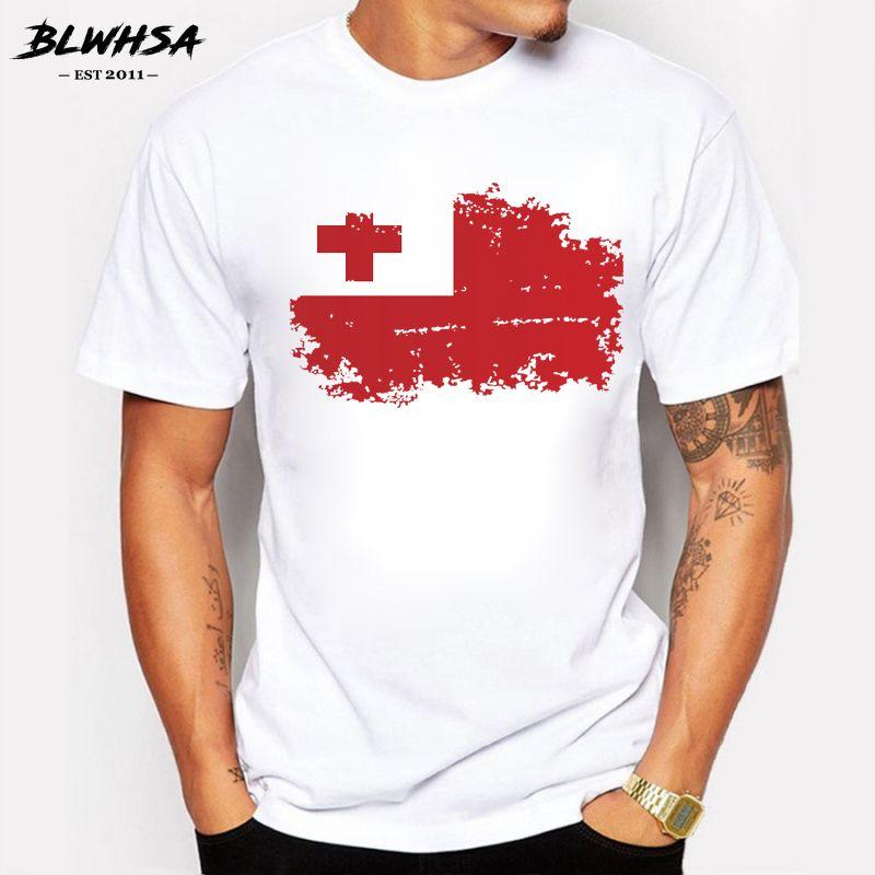 Tonga-Flagge-T-Shirt Männer Art und Weise Sommer Kurzarm Baumwolle Marken Design T-Shirt Tonga Nationalflagge kühle Spitzen-T-Shirts