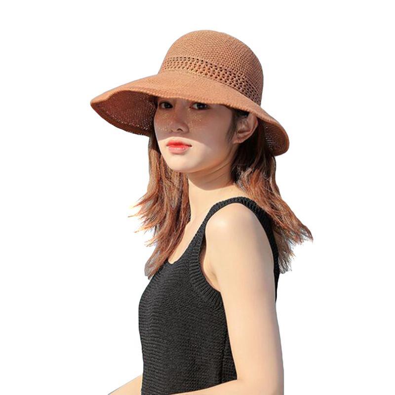 Элегантный стиль лета Большой Брим Соломенная шляпка для взрослых Женщины Девушки моды ВС Hat Солнцезащитная Summer Beach