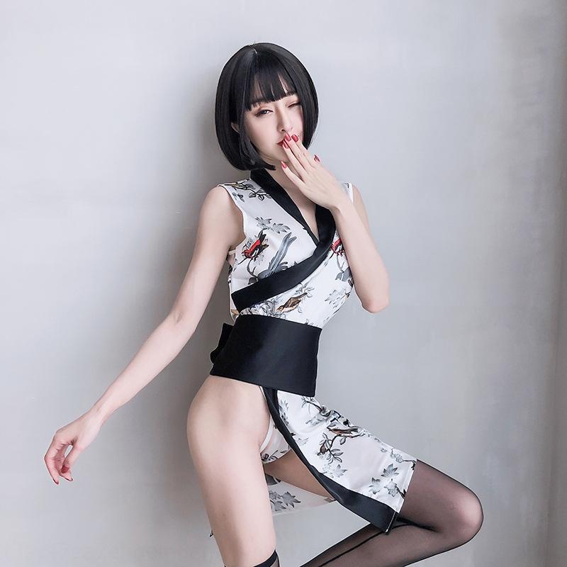 jC5XQ nucleo Cherry stile sexy della biancheria intima della stampa flirtare vestito passione per la biancheria intima del kimono kimono pittura signore di inchiostro del pannello esterno spaccato cinese