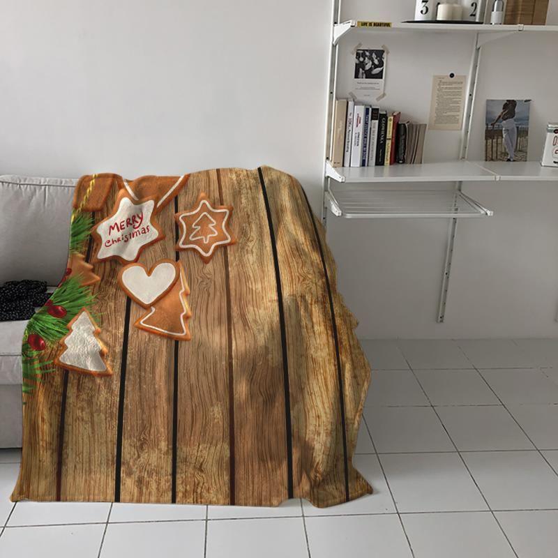 Arbre de Noël Pain d'épice Conseil en bois imprimé Flanelle couverture douce Throw Blanket machine Couvertures lavables pour les lits