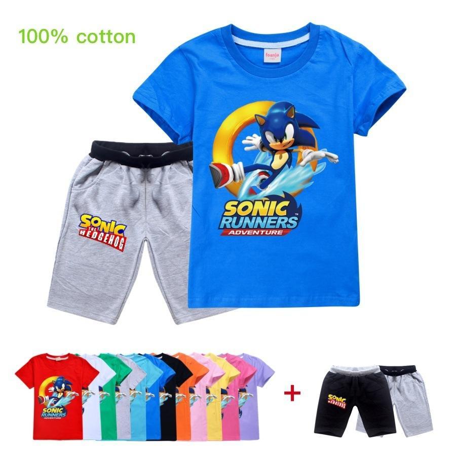 bébé fille vêtements à manches courtes d'été de dessin animé enfants Hauts T-shirt + Shorts Pyjamas Garcons Vêtements Sonic The Hedgehog X0923