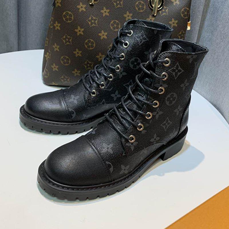 Femmes Martin Bottes moto Boot impression classique à lacets Simple Boot classique Mid tube Boot Bottines Taille Noir 35-41 Type3