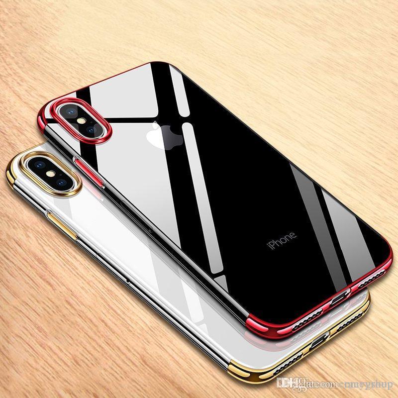 Para iPhone 11 pro xs xr max x 8 7 6s além de Luxo TPU clara capa de silicone Original Silm proteção do telefone Soft Shell para iphoneX