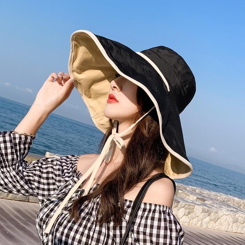 Корейский стиль gzEQj Fisherman женщин универсального модных защиты лето карнизов UV Sun ведро ведро Hat шляпа солнца