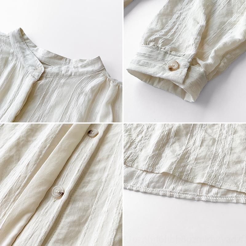 gw7ux женщины в 2020 Летнем белом Топе белого нового дизайна ниша сверху рыхлое ленивые ВС доказательства рубашки с кондиционером рубашка пальто