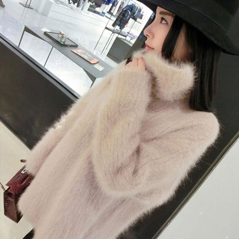 Turtleneck Knitted Fluffy Plush Women's Sweater Long Sleeve Pink Sweet Female Pullover 2020 Autumn Winter Loose Jumpers Apricot T200814