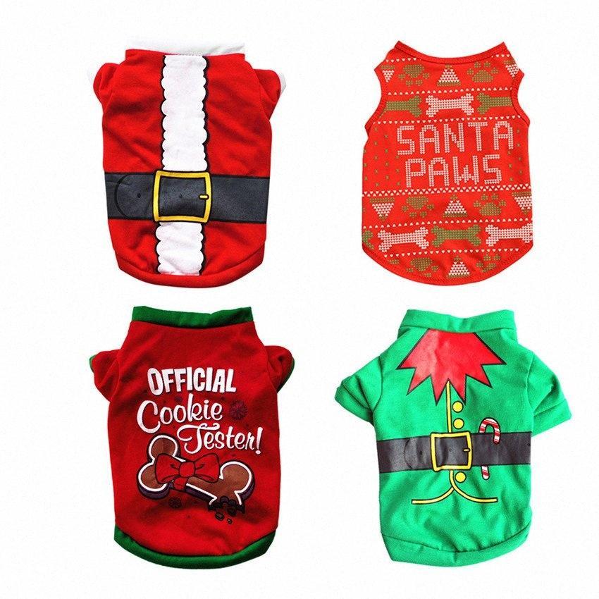 Natal colete para cães moda Festival pet trajes de inverno quentes confortáveis roupas pet quatro estilos de algodão camisetas A07 Mn9e #