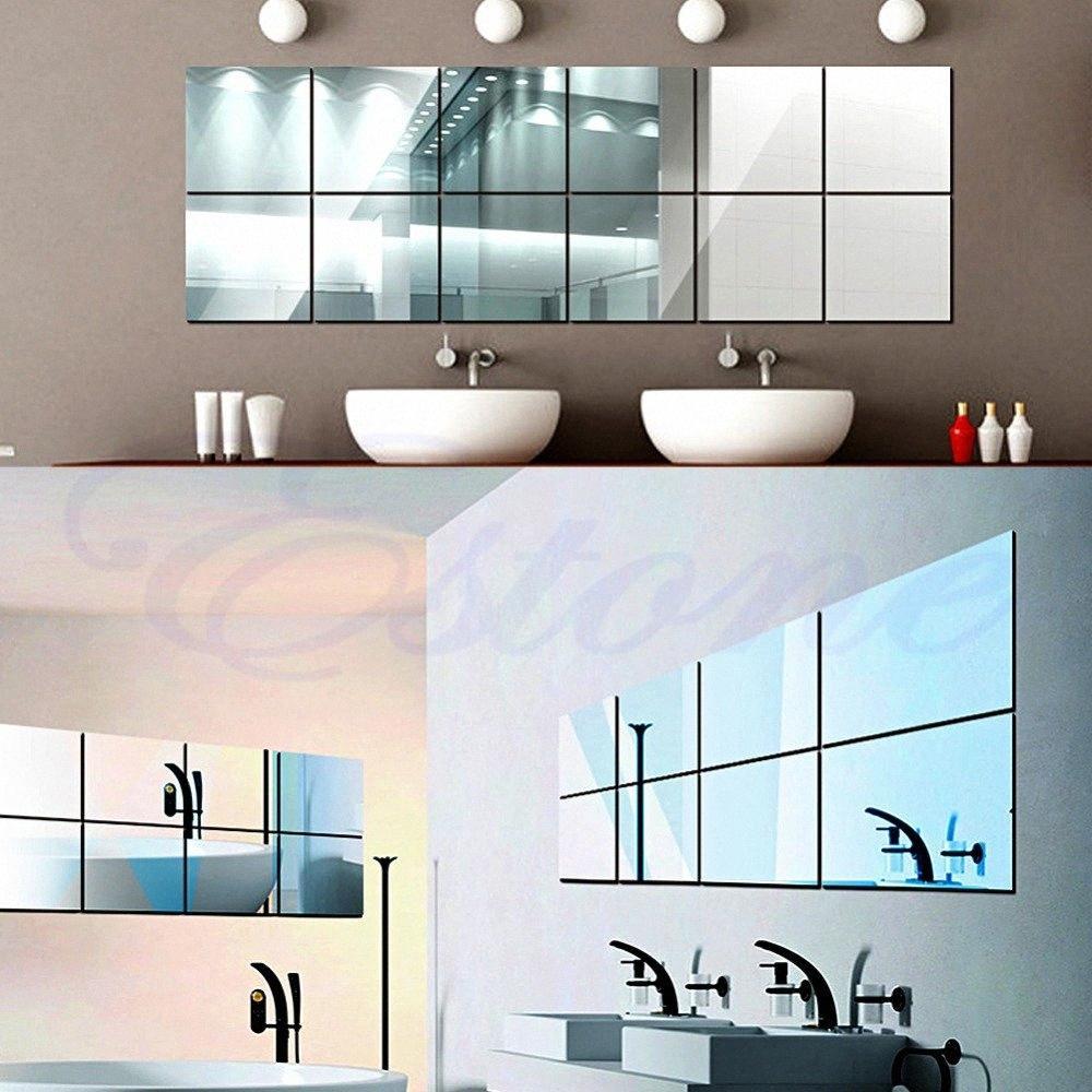 Toptan Kendinden yapışkanlı Dekoratif Aynalar Fayans Ayna Duvar Etiketler Ayna Dekor McnJ #