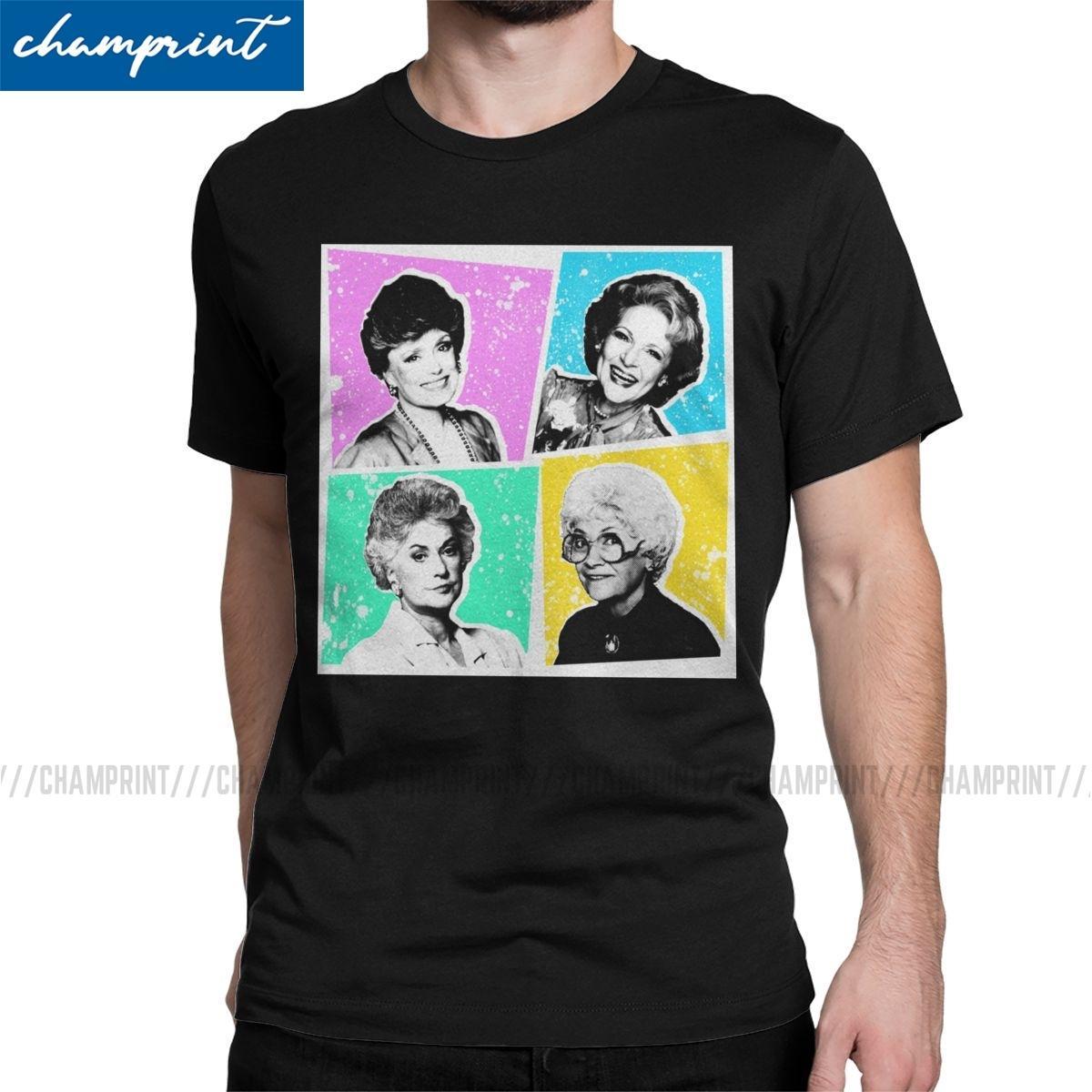 Komik Altın Kızlar POP Tişört Erkekler Ç Boyun Saf Pamuk T Shirt Dorothy 80s Arkadaş TV Kısa Kollu Tee Shirt Baskı Giyim