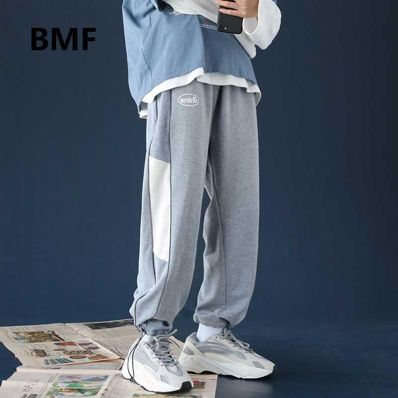Moda Costura Pantalones deportivos Ulzzang Hip Hop Deportes pantalones de estilo casual ropa coreana Kpop pantalón Joggers Streetwear hombres