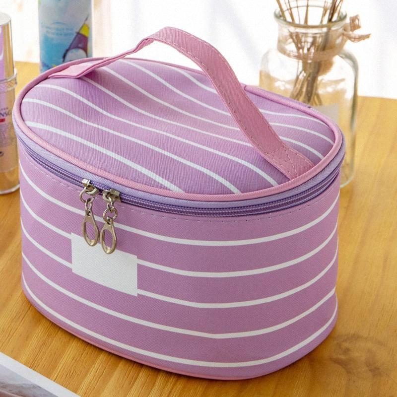 Sac cosmétique de femmes Zipper rayé simple grande capacité Tissu Oxford Sac de rangement souple cosmétique pour les femmes Voyage # G2 TUYO #