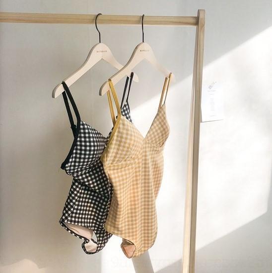 cEaTr 2019 Nouveau maillot de bain une pièce taille Plaid minceur ventre poitrine simple couverture de vacances de printemps de maillot de bain chaud pour les femmes