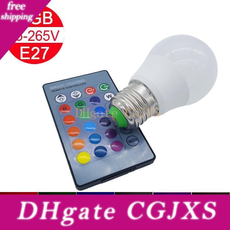 Moins cher Rgb Led Ampoule E27 3w AC85 de Rgb Led Lumière Lampada 16 Changer la couleur avec télécommande pour la maison de vacances Décoration Lumière 50pcs