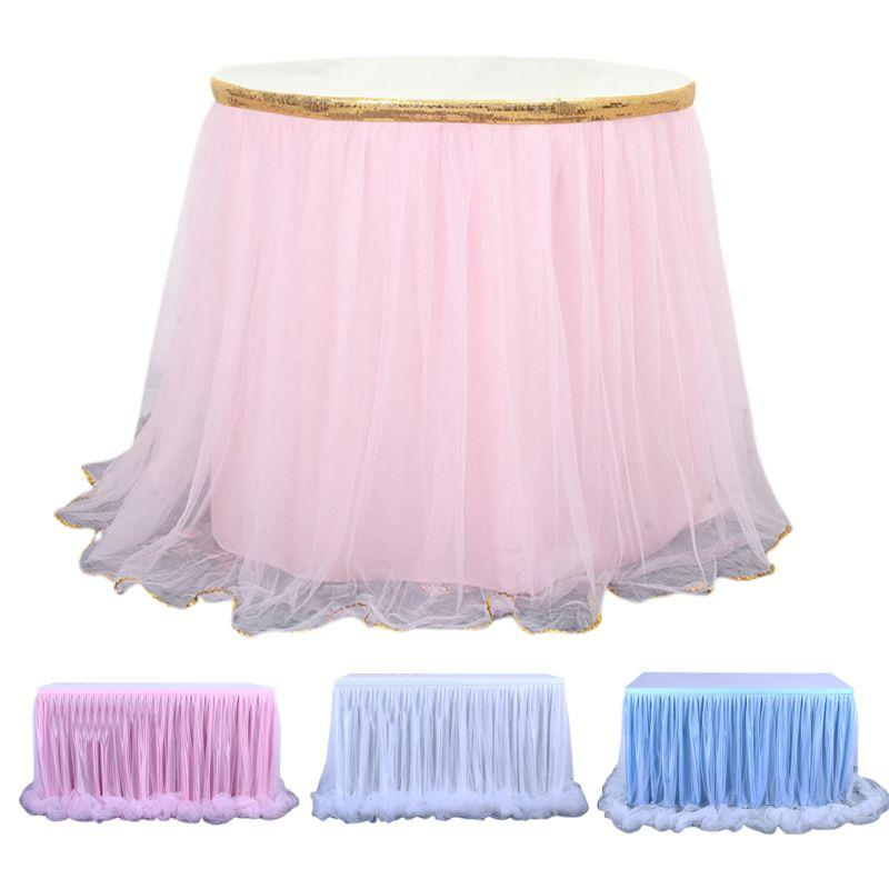 6ft Candy Color Tulle Table Skirt for Rectangle Round Desk Ruffles Tutu Tableware Wedding Birthday Party Decoration Tablecloth
