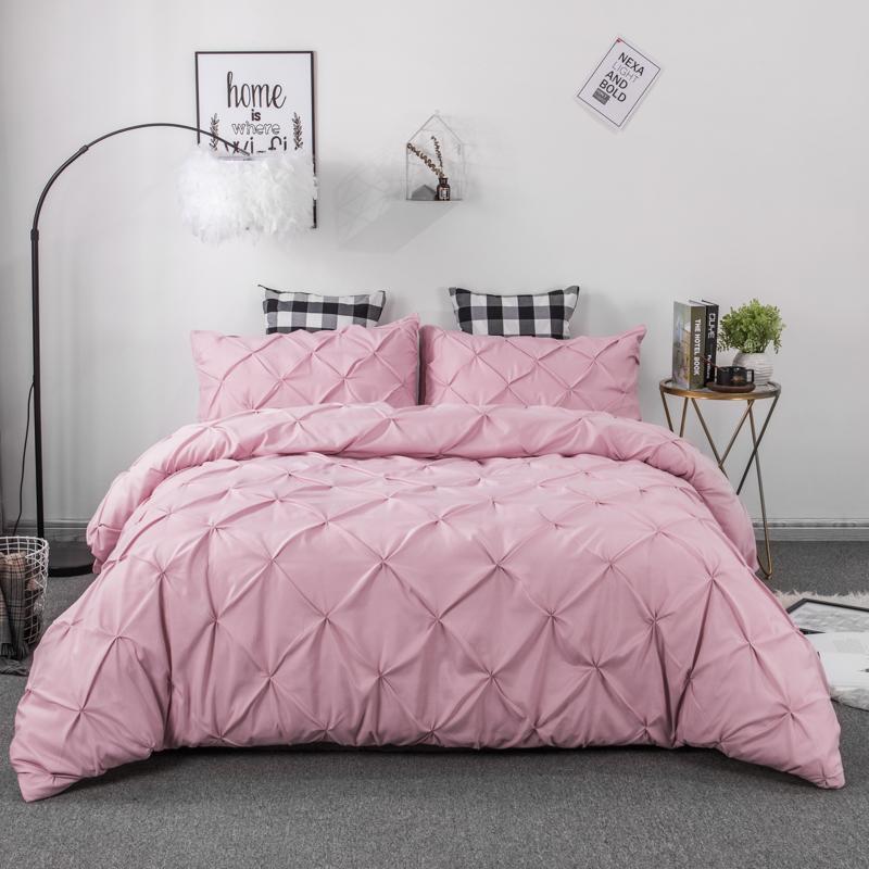 Luxury Pinch Pleat Duvet Cover Set Pure Color 3pcs 2pcs Bedding Set Quilt Cover Pillowcase King Queen Size No Sheet No Fillers