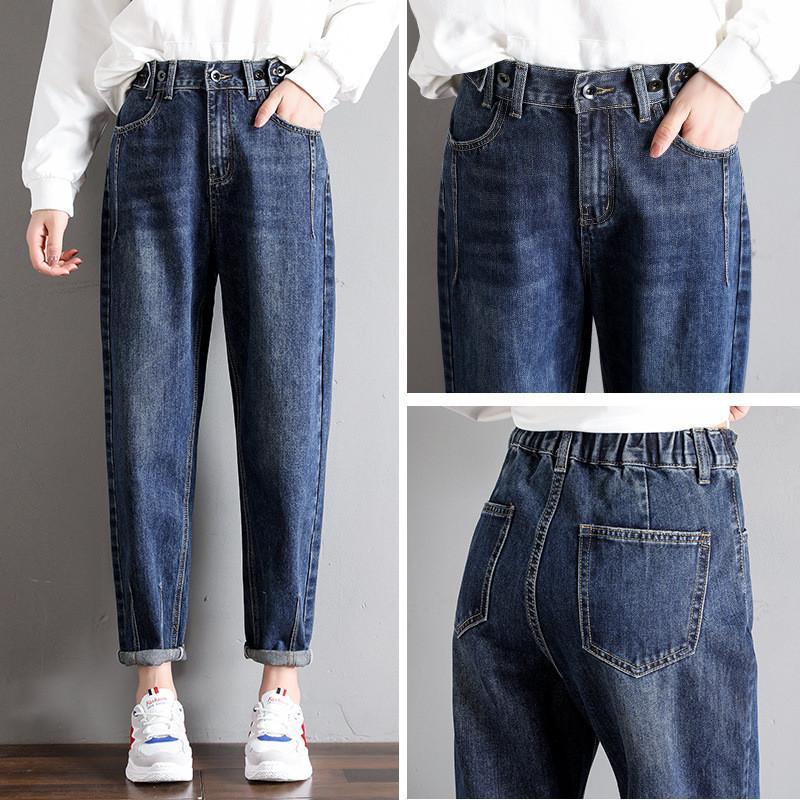 2020 Sonbahar Kadınlar Kot Pantolon Yüksek Bel Elastik Jeans Femme Casual Gevşek Jeans İnce Vintage Kadın Kovboy Pantolon R186