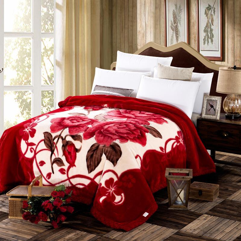 couverture super doux style chinois chaud épaissie couverture en polyester