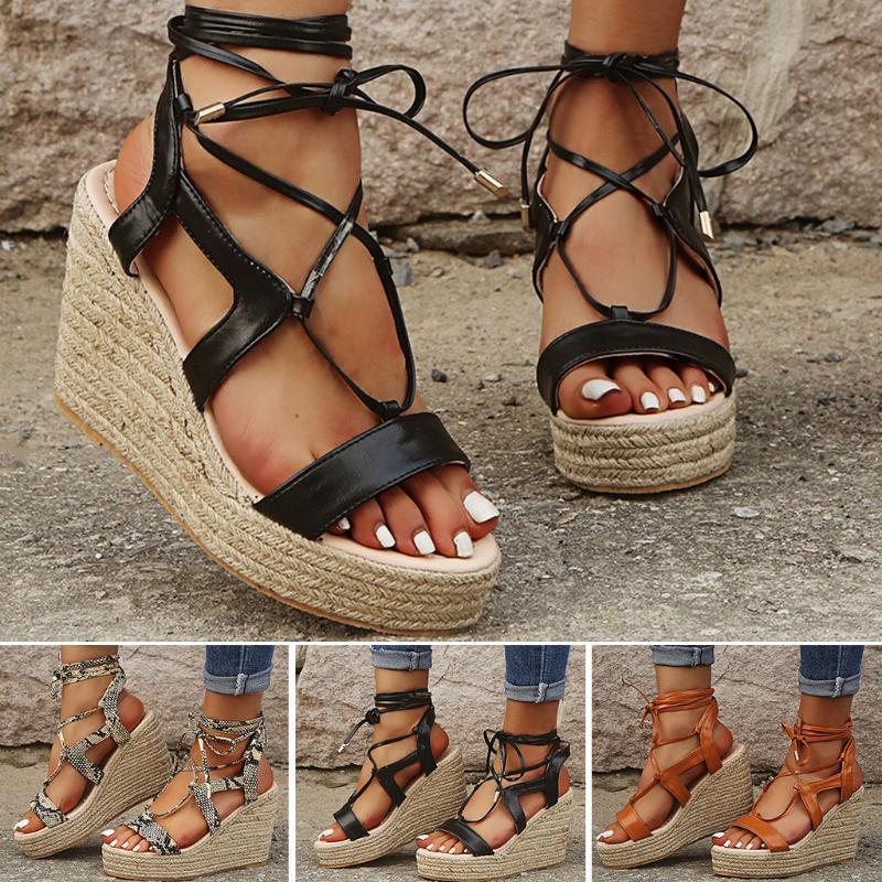 Chaussures Femmes Mode multi-Strap Sandales plates-formes Croisillon Wedges talon haut Chaussures de sandalias de verano para mujer A01