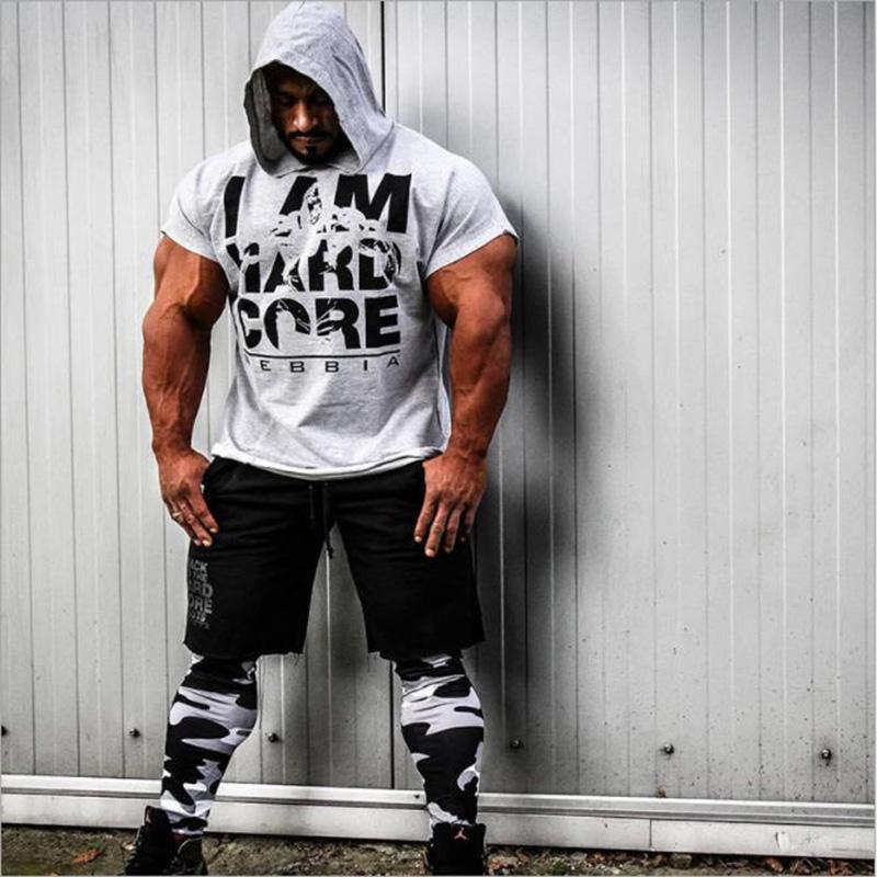 Musculação Stringer alças com Tankops musculares capuz Mens roupa da aptidão dos homens sem mangas Coletes Algodão Singlets