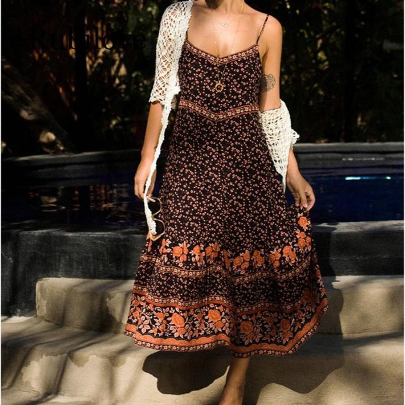 Boho Maxi Платье Женщины 2020 Летние Безвездовые Беремеры Сексуальное Платье Дамы Богемский Хиппи Пляж Партия Длинный GTAJM