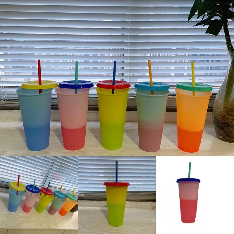 Color Changing Cups With Lid Clear Plastic Tumbler Circle Reusable Coffee Mug Water Suction Tubes Party Custom Tailor 12ty3 B2