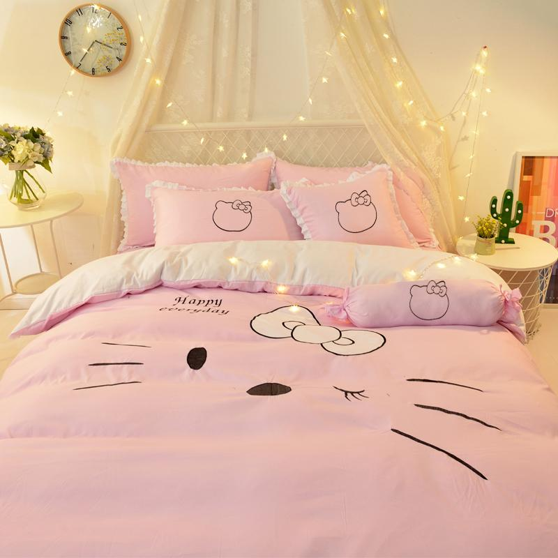 Bettwäsche-Sets Karikatur-Prinzessin Art-nette Katze gestickte Baumwolle Baumwolle Bed Rock Vier-Stück Mädchen-Herz-Schlaf Bedding
