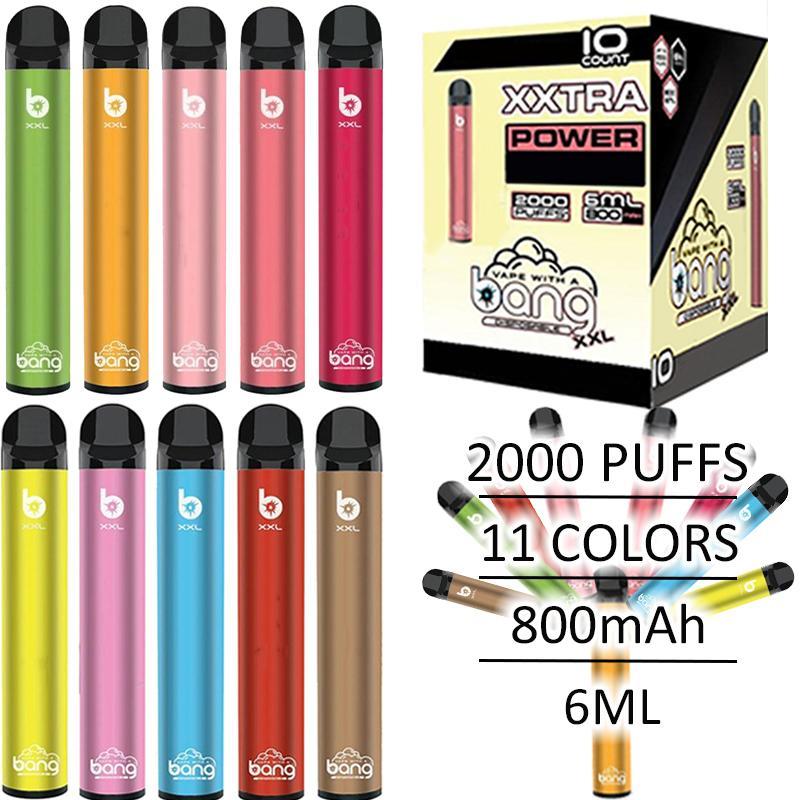 Hot Newest Bang XXL 2000Puffs Disposable Device Pod Vape Pen Starter Kit 800mAh Battery 6ml Empty Cartridges Atomizer E Cigarettes Vape Kits