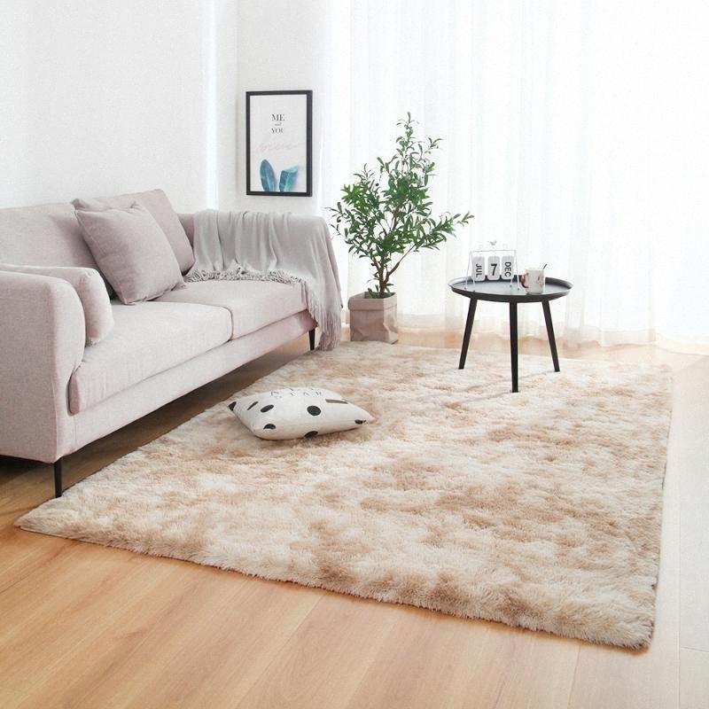 Anti-slip Floor Mats Grey Carpet Laço tingimento de pelúcia macia Tapetes Quarto Absorção de Água Tapete Tapetes para sala de estar Quarto TAMZ #