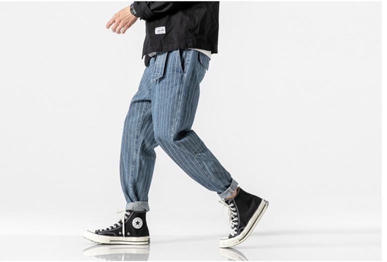 Lässige Kleidung Stile Herren Jeans-Bleistift-Hosen-Knöchel mit einem Band versehene Hosen Old School Striped Japan Style Jeans