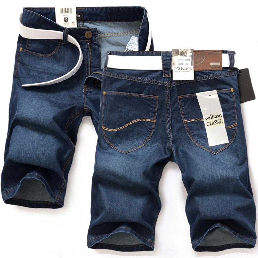 ClALA hombres de pantalones cortos de verano pantalones cortos de mezclilla Medio delgadas coreanas pantalones delgados y de 5 puntos y 5 puntos de los hombres