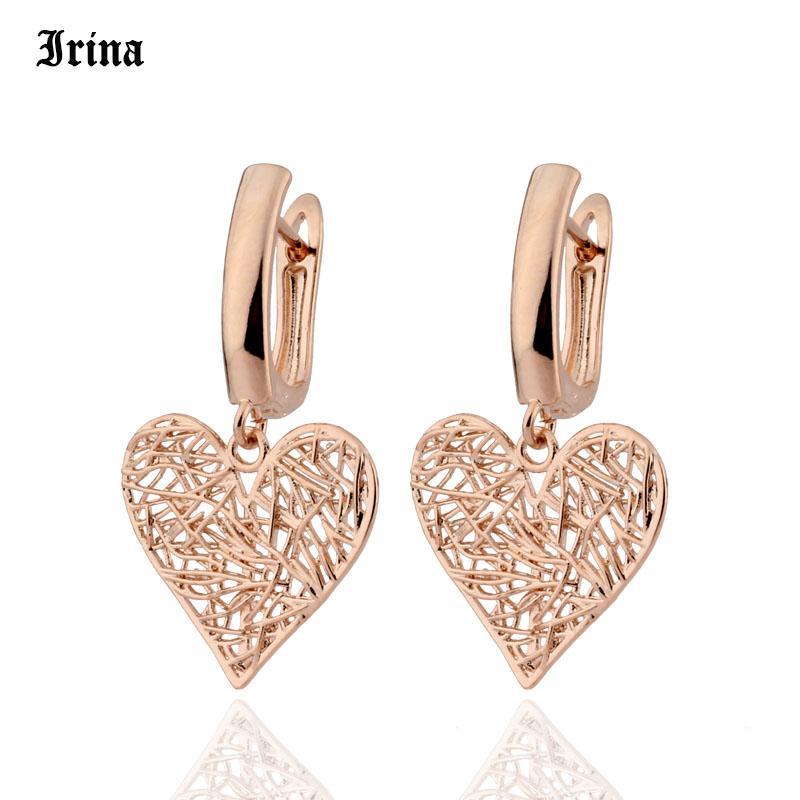 2020 neue Ohrringe Verkauf 585 Goldfarbe baumeln Ohrringe Stilvolle aushöhlen Herz formte Französisch-Haken-Ohrring für Frauen-Schmucksachen