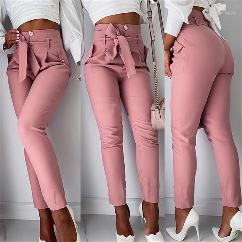 Bow Sashes Gevşek Casual Kalem Pantolon İlkbahar Yaz Moda Kadınlar Pantolon Yüksek Bel Tasarımcı Kadınlar Pantolon Katı Renk OL