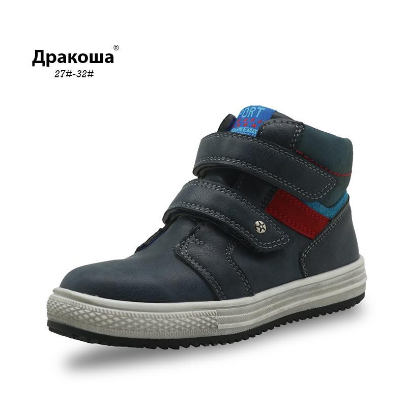 Apakowa 가을 남자 부츠 PU 가죽 발목 부츠 새로운 플랫 스니커즈 소년에 대한 아치 지원 유아 키즈 신발 EU 27-32 CX200825